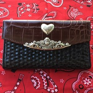 Handbags - Black and Brown Faux Leather Wallet